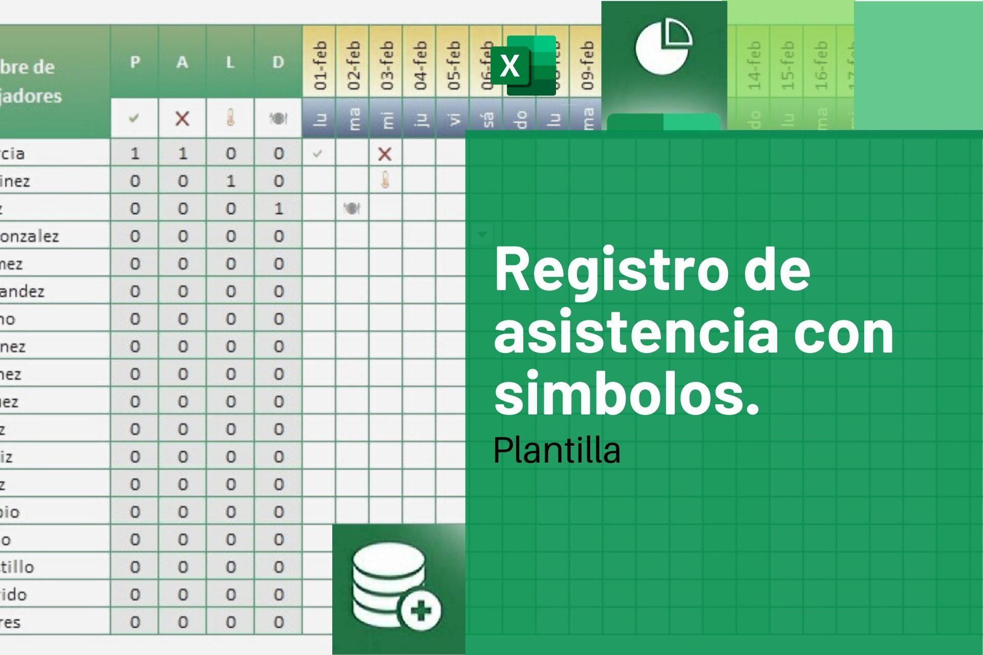 Registro de asistencia con simbolos